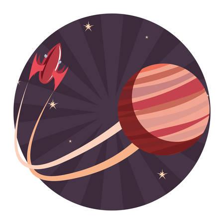 rocket spaceship exploration planet vector illustration design
