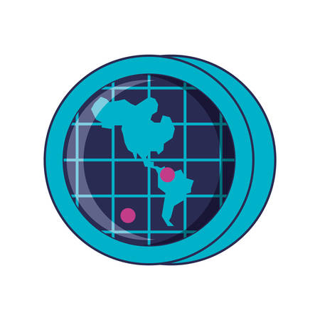 radar location with american continent map vector illustration design