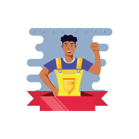 worker construction man with ribbon vector illustration design