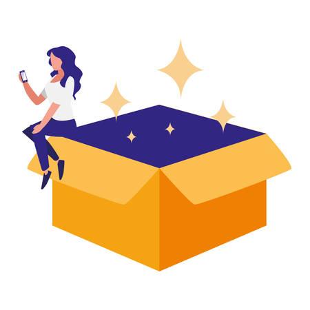 woman using smartphone with carton box vector illustration design