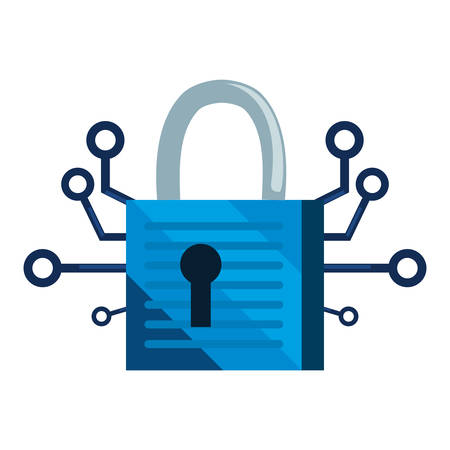 connection padlock cybersecurity data protection vector illustration
