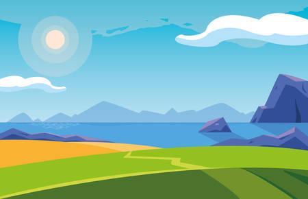 landscape with lake scene icon vector illustration design Ilustração