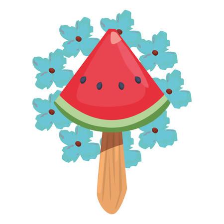 summer time holiday flower wreath watermelon ice cream vector illustration Ilustração