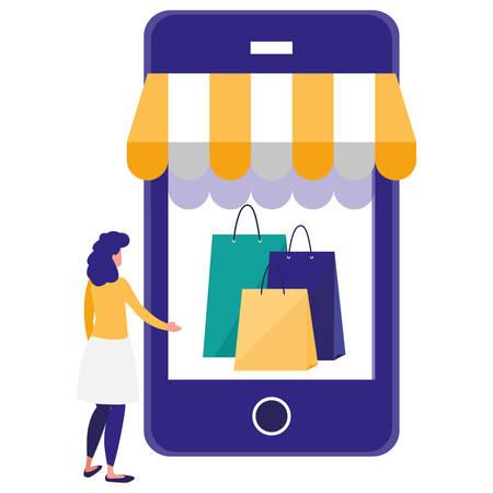 woman using smartphone with shopping bag vector illustration design Illusztráció