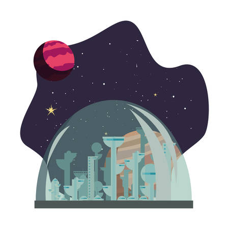 rocket colony futuristic space vector illustration design