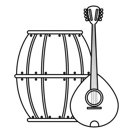 beer wooden barrel and mandolin vector illustration design