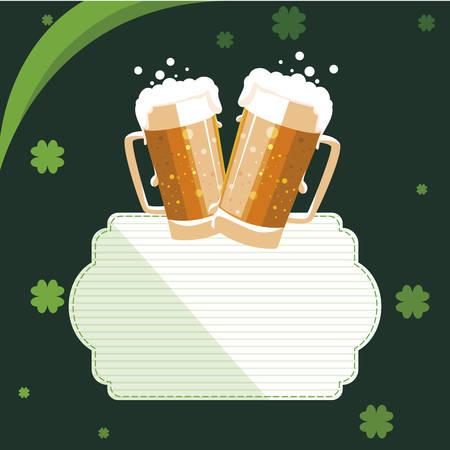saint patrick beer jar with clover leaf vector illustration design Ilustrace