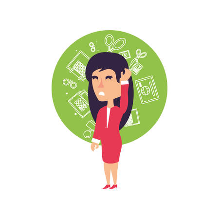 business woman stressed with set icons office vector illustration design 일러스트