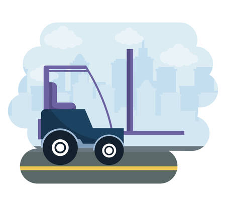 under construction forklift vehicle vector illustration design Stok Fotoğraf - 129485605