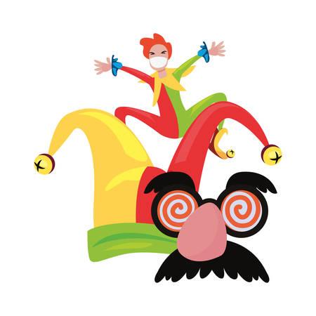jester mask hat april fools day vector illustration
