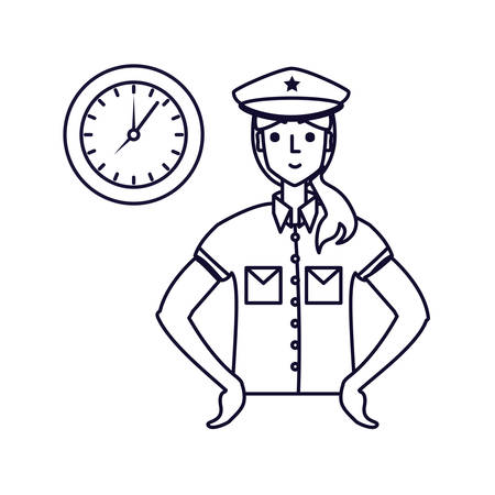 police officer female with clock time vector illustration design  イラスト・ベクター素材