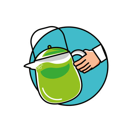 hand with teapot kitchen isolated icon vector illustration design