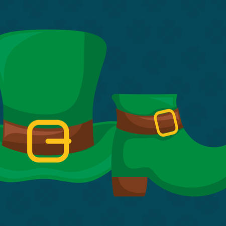 st patricks leprechaun hat with boot vector illustration design