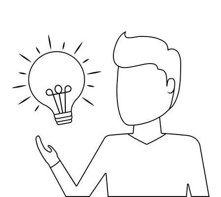 man with light bulb idea icon vector illustration design