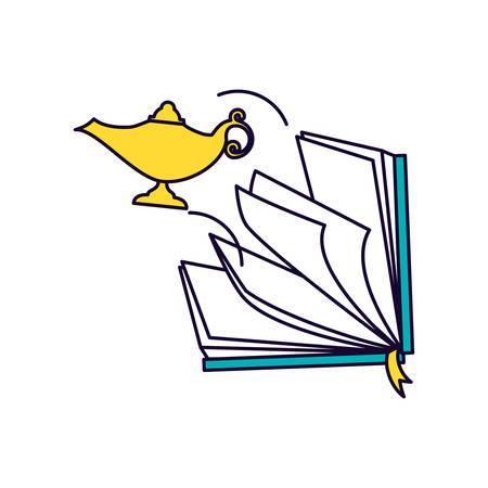 koran book with teapot ramadan kareem vector illustration design Ilustração