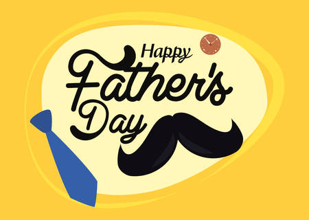 necktie mustache card happy fathers day vector illustration Archivio Fotografico - 129640116