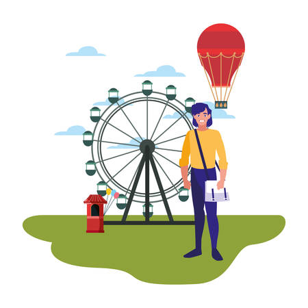 man ferris wheel hot air balloon in the park amusement vector illustration Illusztráció