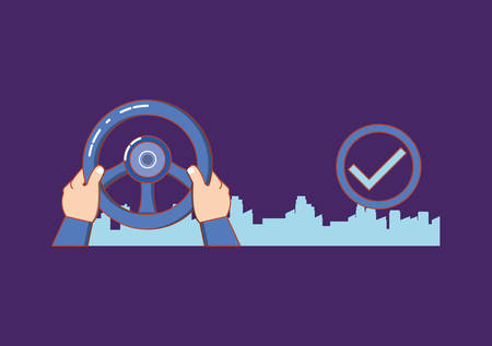 drive safely hands with steering wheel vector illustration