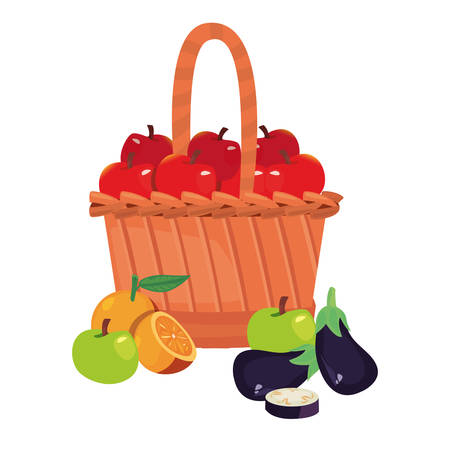 eggplant orange apples fresh food wicker basket vector illustration Stock Illustratie