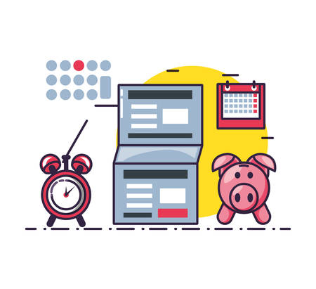 piggy saving with document and set icons vector illustration design