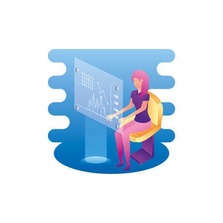 businesswoman worker with data virtual vector illustration design Illustration