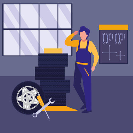 mechanic worker with tires car vector illustration design