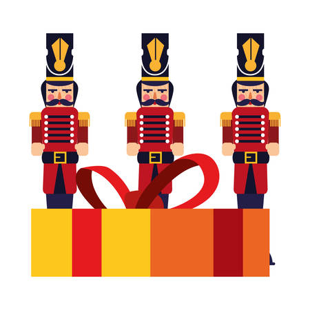 nutcrackers christmas toy and gift box vector illustration