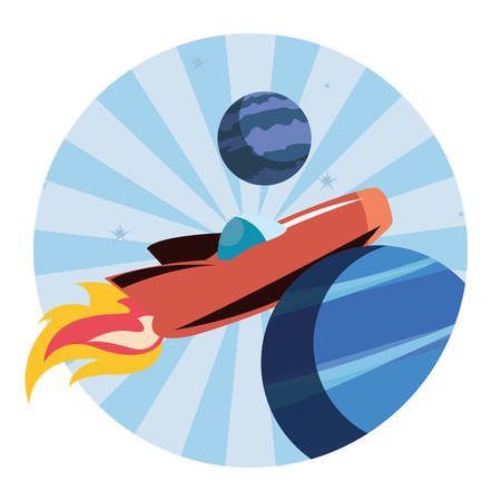 rocket planet space mission explore vector illustration Illustration