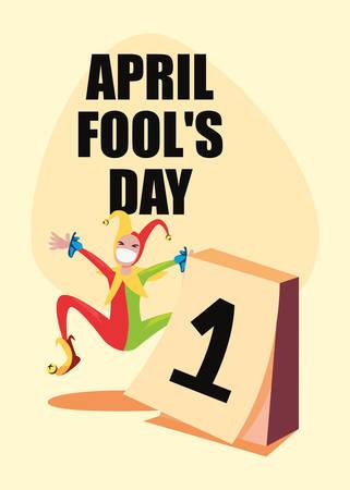 april fools day lettering celebration vector illustration