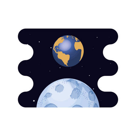 earth planet with moon scene space vector illustration design 일러스트