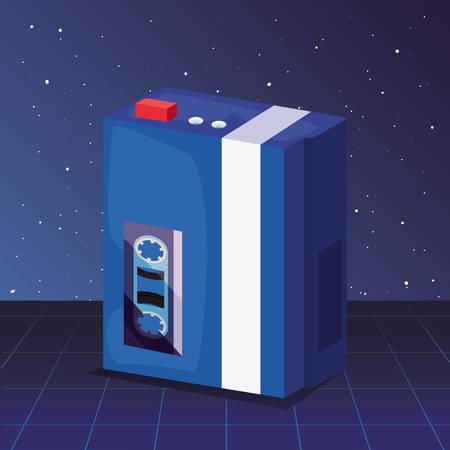 portable music retro 80s dark background vector illustration Иллюстрация