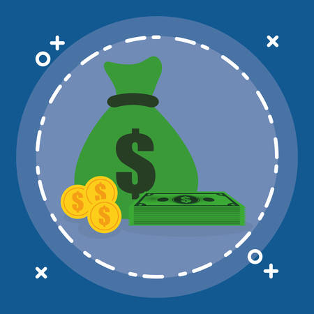 money bag with bills and coins vector illustration design  イラスト・ベクター素材