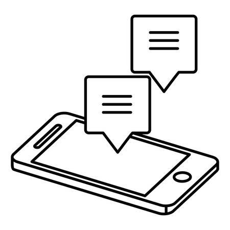 smartphone with speech bubble vector illustration design