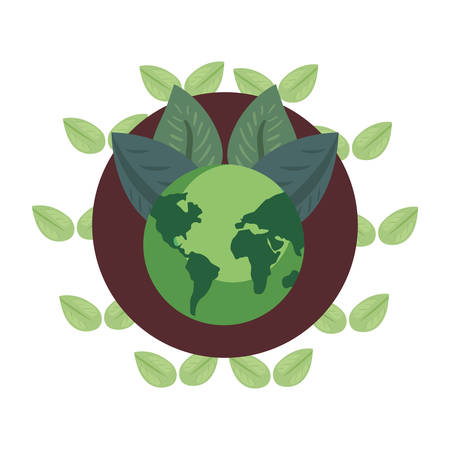 world planet leaves foliage earth day vector illustration