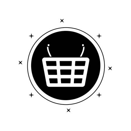 shopping basket in frame circular isolated icon vector illustration design