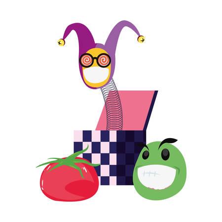 emoji in the box april fools day vector illustration
