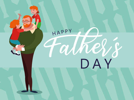 happy father day card with dad and children vector illustration design Archivio Fotografico - 129647211