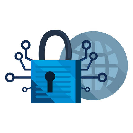 world connection padlock cybersecurity data protection vector illustration