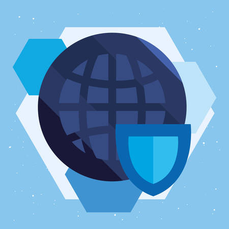 world shield protection cyber security vector illustration