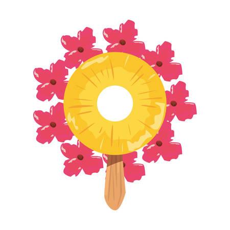 summer time holiday flower wreath pineapple ice cream vector illustration Ilustrace