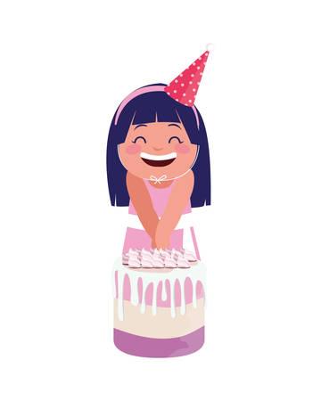 happy girl with birthday cake celebration vector illustration