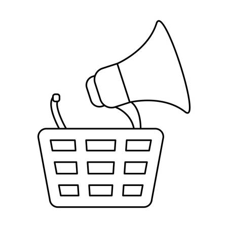 shopping basket with megaphone isolated icon vector illustration design