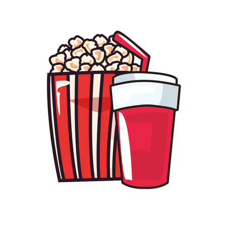 popcorn soda pop art background vector illustration