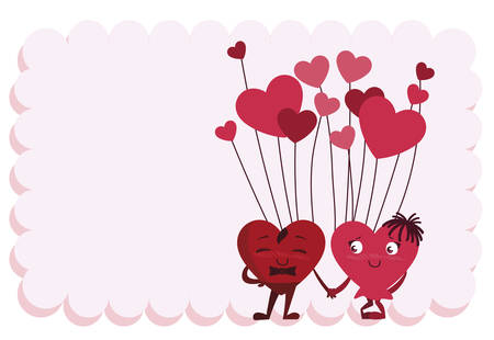 couple hearts with balloons helium characters vector illustration design Ilustração