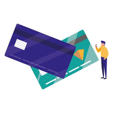 young man using smartphone with credit card vector illustration design Illusztráció
