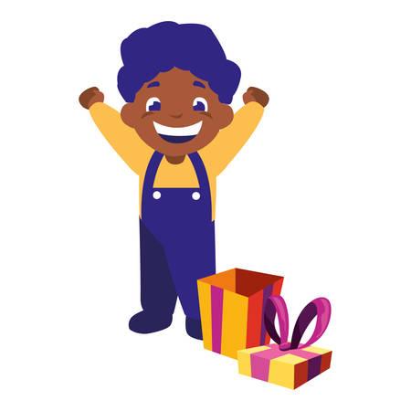 happy boy with gift box celebration vector illustration