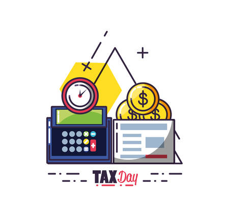 tax day with calculator and set icons vector illustration design