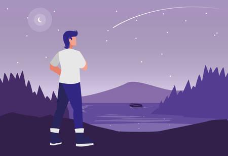 young man in forest landscape scene vector illustration design Stock Illustratie