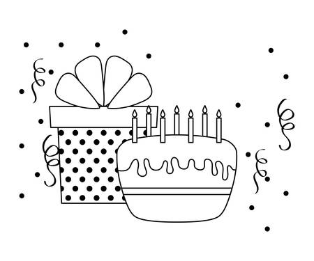 sweet cake with candles and gift box vector illustration design 일러스트