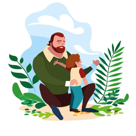 father with son in scene of nature vector illustration design Stock Illustratie